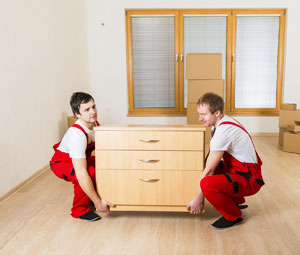 Movers in red uniforms